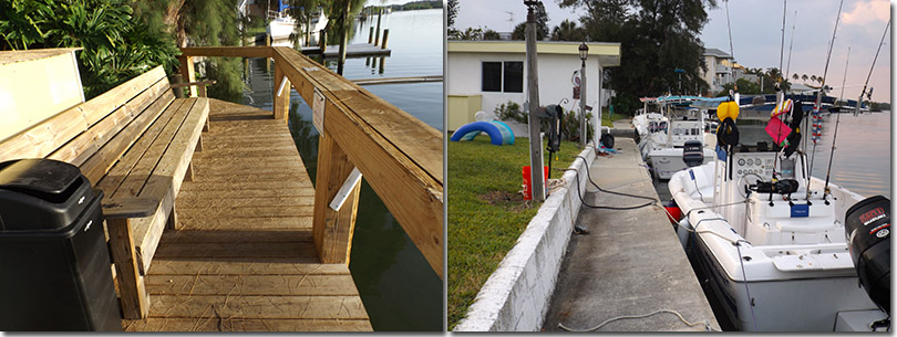 new motel docks and boats docked in our slips